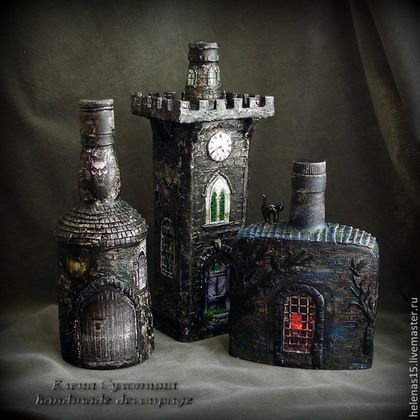 """Освещение ручной работы. Ярмарка Мастеров - ручная работа. Купить Бутылка-светильник """"Замок Дракулы"""" Декупаж бутылки. Handmade. Чёрный"""