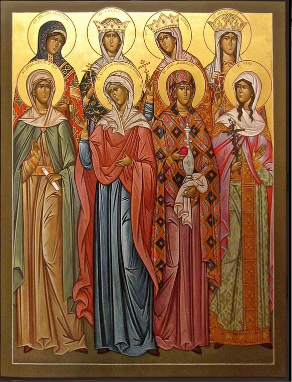 Eight female saints with Mary Magdalene, Byzantine icon