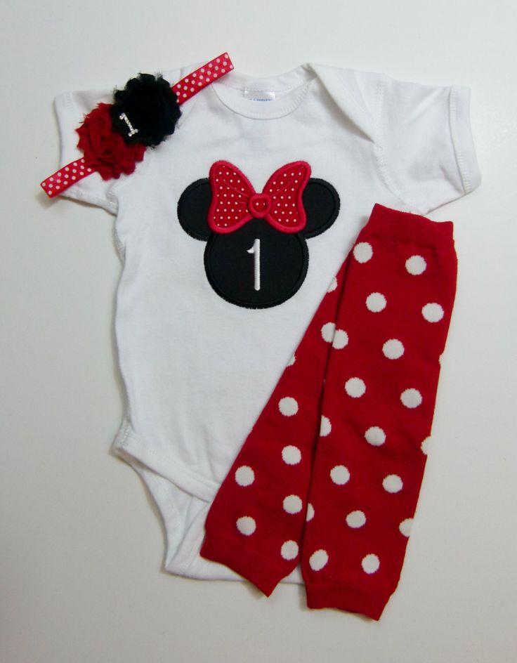 Minnie Mouse 1st Birthday Outfit Headband Leg Warmer by mamabijou, $22.00