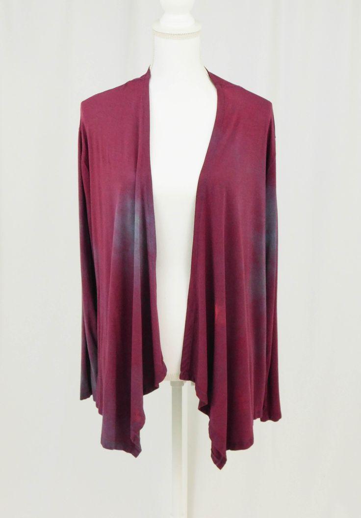 Long Sleeve Cardigan, Womens Hand Dyed Burgundy Jacket Size XL, Boho Style Waterfall Drape Cardigan ,Plus Size Jacket, Long Sleeve Cardigan   – Clarity Colors, Women's Hand Dyed Clothing