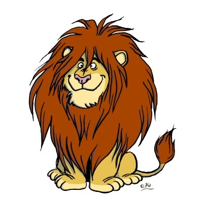 this artist depicts lions to have far more fur then they would normall have seeing a lion with this kind of facial expression would give you a mroe relaxed and humorous atmosphere
