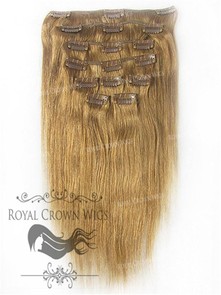 Brazilian 9 Piece Straight Human Hair Weft Clip-In Extensions in #6