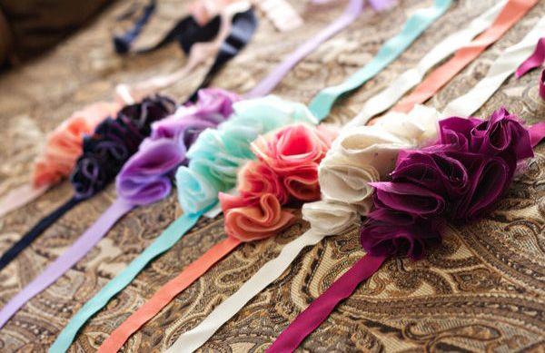 Oooh fun DIY sashes for bridesmaid dresses... good idea!