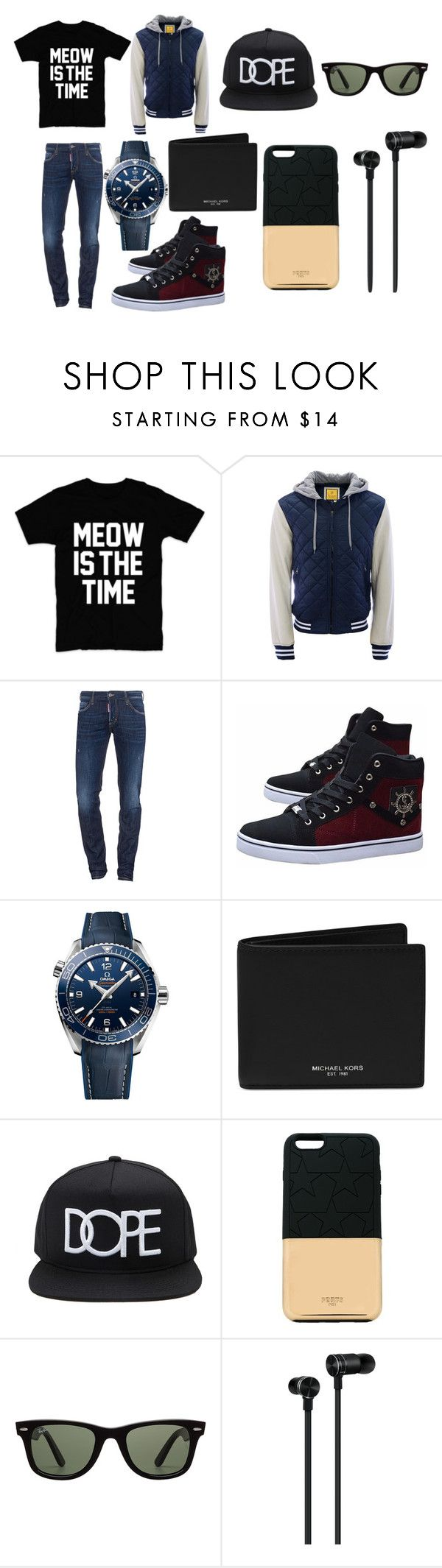 """Diego/Verónica"" by mark-tuan ❤ liked on Polyvore featuring Aéropostale, Dsquared2, OMEGA, Michael Kors, 21 Men, Ports 1961, Ray-Ban, Master & Dynamic, men's fashion and menswear"