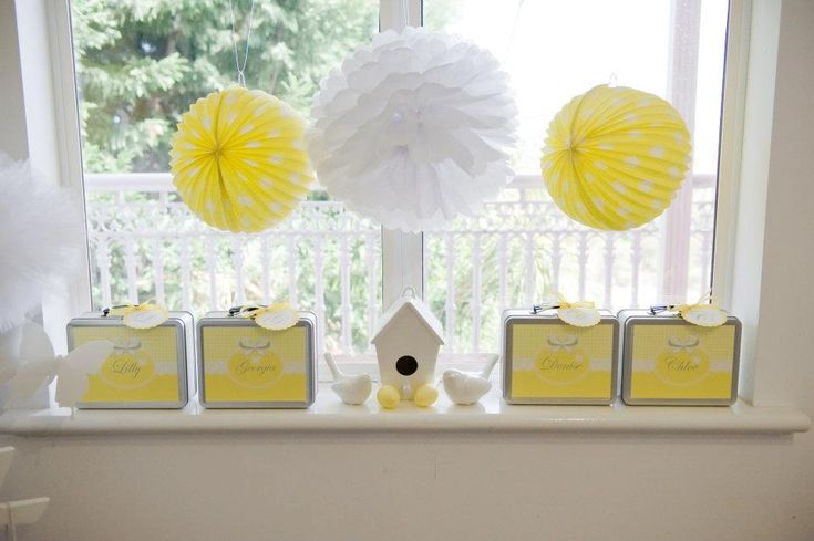 Yellow and White tissue balls/lanterns