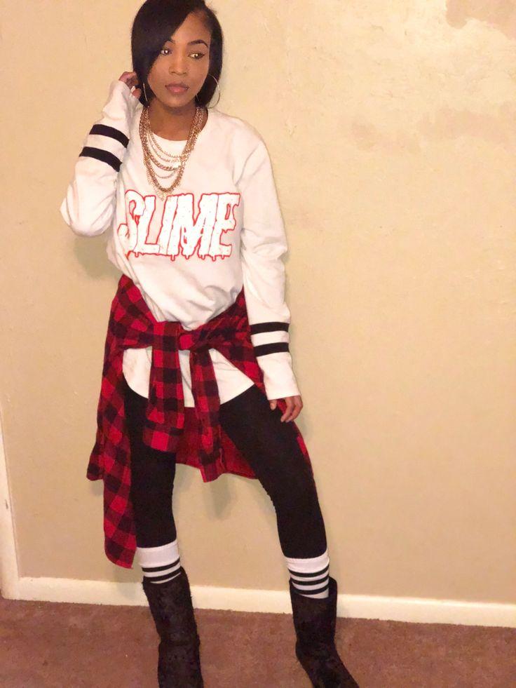 #SlimeKlothingCo Shirt  Red Flannel  White & Black Knee High Socks  Black Boots