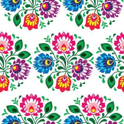 Zdjęcie Seamless traditional floral pattern from Poland on white | Fototapety | Dekoracje Na Wymiar