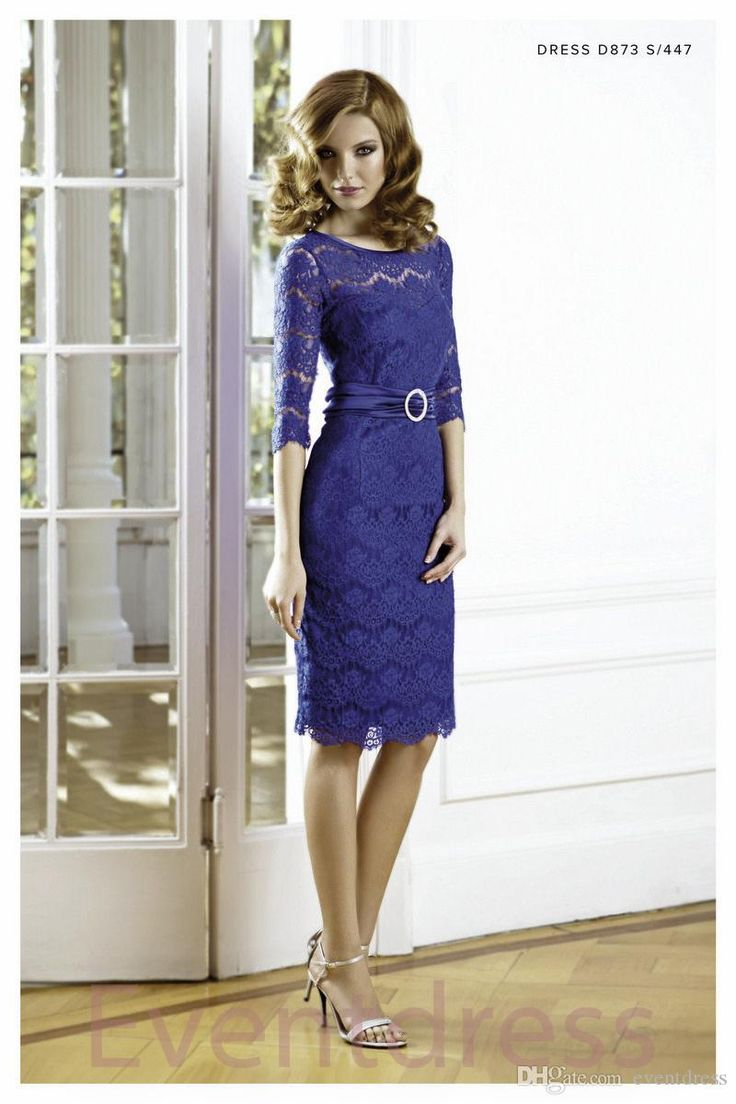 2015 New Mother of the Bride Dresses With Jacket Sheer Lace Crew Neck 3 4 Long Sleeves Sheath Knee Length Ruffle Party Dress BO5032, $128.8 | DHgate.com