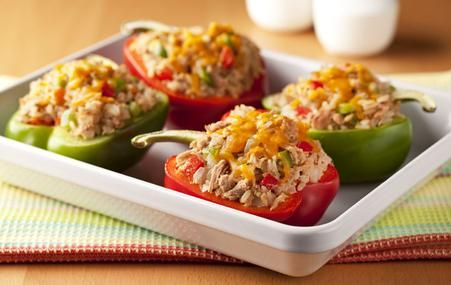 Two 5oz packets of tune, 1 TBSP of Mayo, 1 TBSP of dijon mustard, stuuf in two peppers, bake at 375 for 25 min. (makes 2)