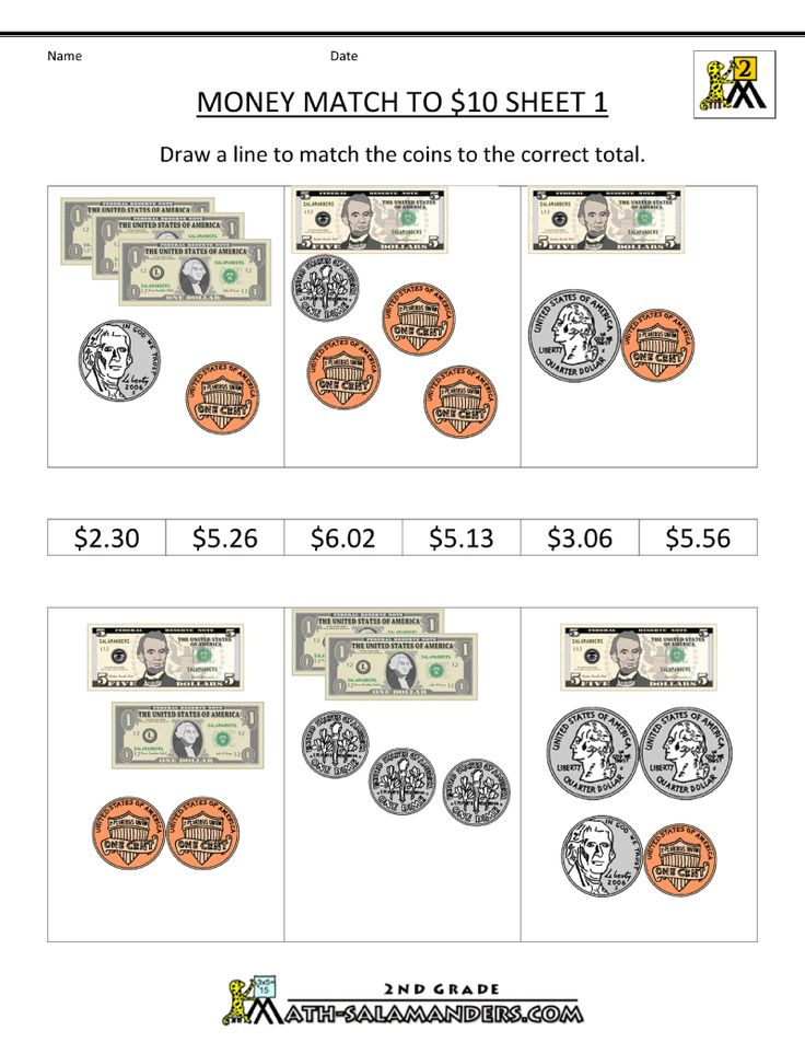 money worksheets match to 10 dollars homeschool 2nd grade pinterest discover more best. Black Bedroom Furniture Sets. Home Design Ideas