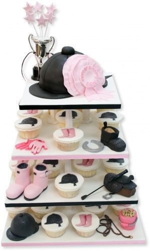 Horse riding tower - 40 cupcakes and riding hat cutting cake... ADORABLE!!
