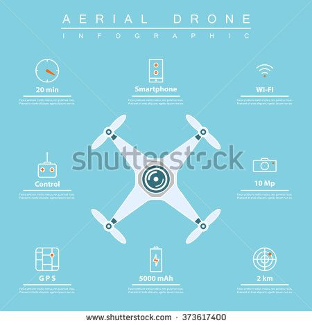 air drone infographic. thin line icons of drone feature: flight time, smartphone controlling, gps navigation, etc. drone characteristic for aerial photography or footage. vector illustration