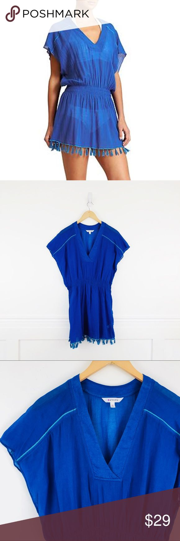 "Athleta Bright Side Coverup Athleta Bright Side Swimsuit Coverup in Caspian Blue.  Oversized gauzy cotton coverup with tasseled ends and cinched-in waist. Deep v-neck. 100% cotton, very lightweight, sheer.  Size S.  Chest 19"", length 31"". Athleta Swim Coverups"