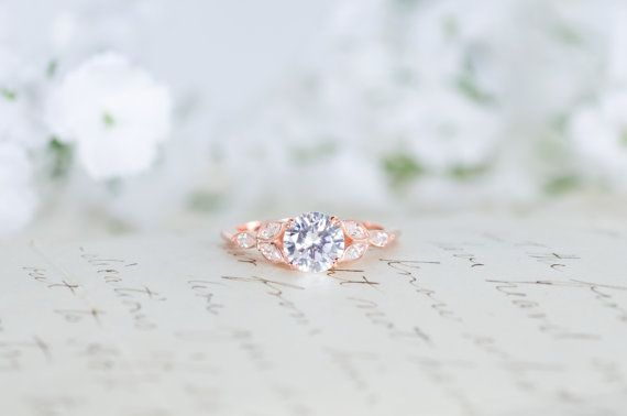 Rose Gold Engagement Ring Art Deco Ring Vintage by MochaRings