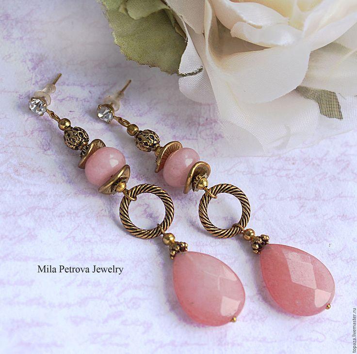 Купить Длинные розовые серьги гвоздики с Нефритом_Гармония - длинные серьги, длинные серьги с камнями