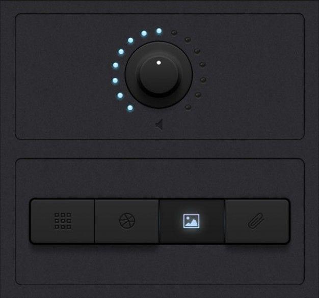 2ブラックトーンUIデザインボタン·ノブ