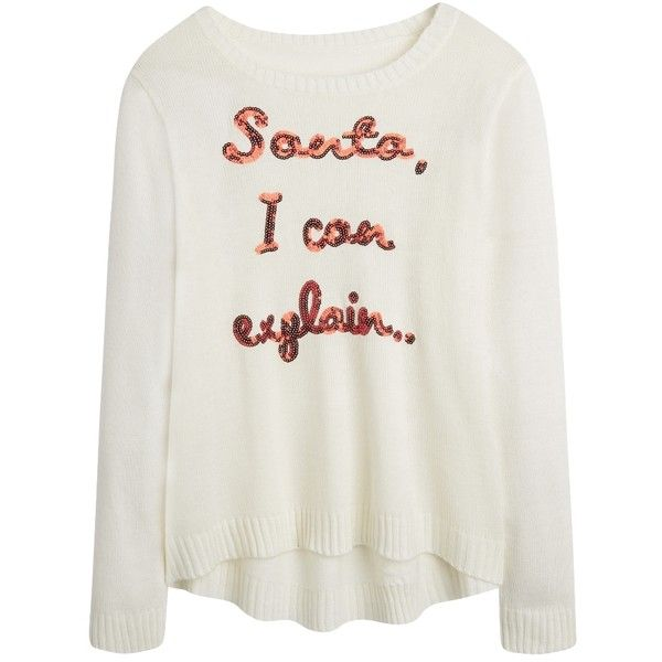 Christmas Santa I Can Explain Sweater ($27) ❤ liked on Polyvore featuring tops, sweaters, shirts, plus size christmas sweaters, christmas sweater, womens plus tops, christmas tops and plus size sweaters