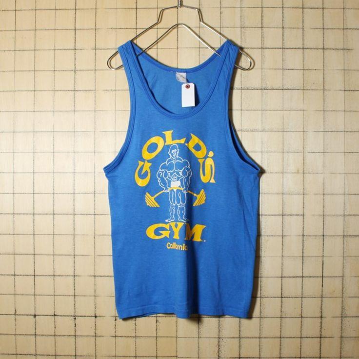USA製 古着 プリント タンクトップ GOLD'S GYM California ゴールドジム ブルー メンズS アメリカ古着