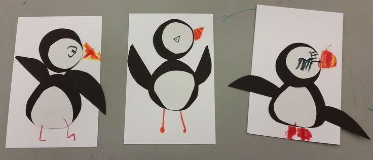 """Puffins in """"Wild Animal Art"""" (ages 3--4)"""
