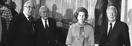 Jim Callaghan, Harold Wilson, Margaret Thatcher and Edward Heath, pictured in 1979