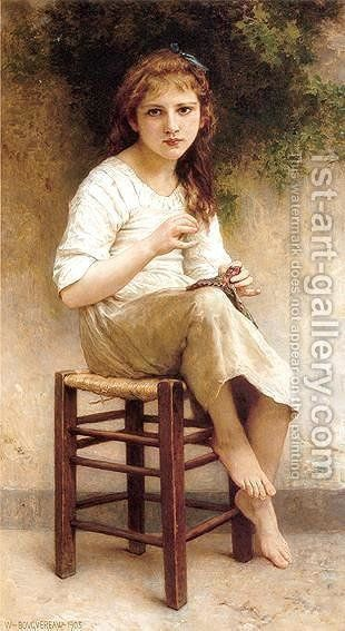 f03cae4a39e 80% off a Hand Made Oil Painting Reproduction of Young Sewing Girl ...