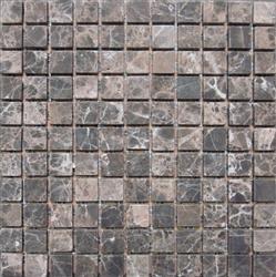 "Stone Mart USA's 1""x1"" Emperador Dark Mosaic Tumbled Marble Mosaic Tiles"