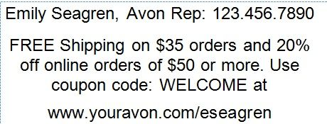 Avon Free Shipping Book Label - learn more tips for selling Avon online: http://www.makeupmarketingonline.com/emily-seagrens-top-avon-online-marketing-tips/