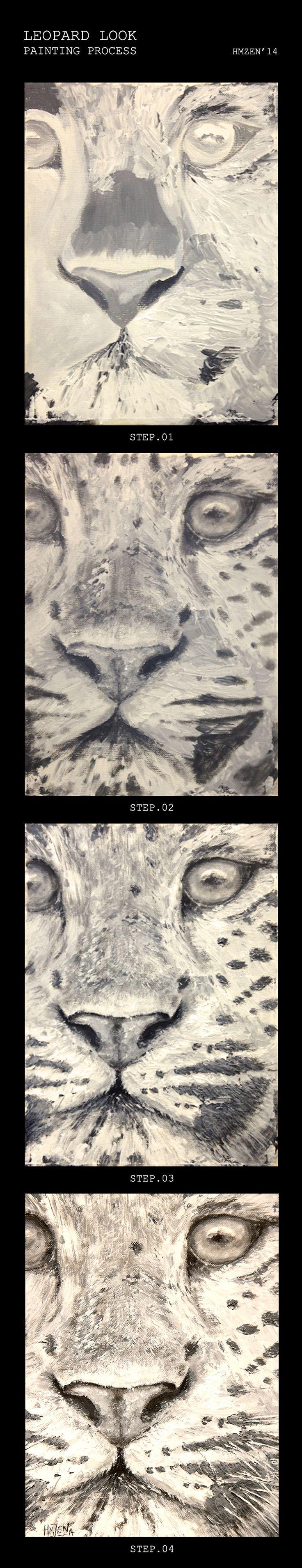 Proceso de creación del acrílico con pincel y espátula para la exposición de fin de curso - El leopardo mira. Creation process of acrylic with brush and spatula for the exhibition of the course -  Leopard Look. HMZEN'14