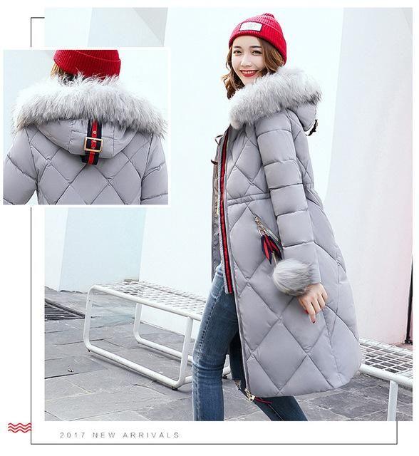 Fashion slim thicked women jacket black gray brown women's winter coats super warm waterproof windproof fur hooded long parkas