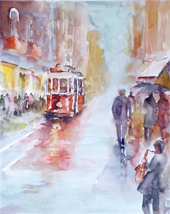 Saxophone melodies on a rainy day in Beyoglu - Istanbul Painting by Faruk Koksal
