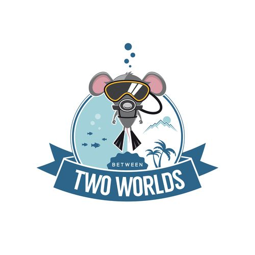 Logo for a character between two worlds. A world underwater and a world above.