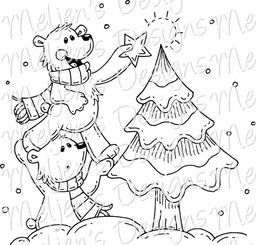 Meljen's Designs Bitty Christmas Tree Bears digital stamp