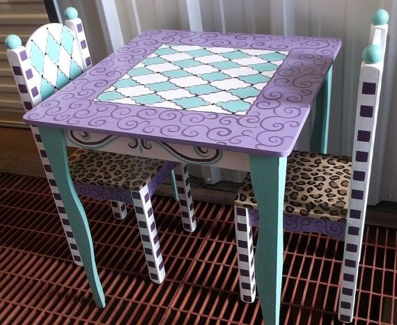 Hand Painted Childrens Table And Chairs - Foter