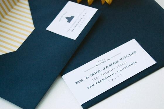 Wrap around mailing label sticker.  Navy Blue Envelope, Striped Lining.