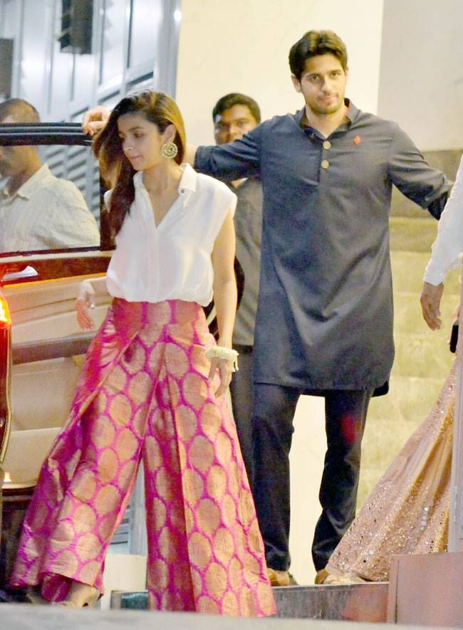 Alia Bhatt with Sidharth Malhotra at Afsar Zaidi's #Diwali party. #Bollywood #Fashion #Style #Beauty #Hot #Handsome