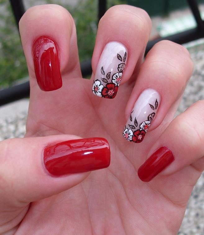 red white nails red black flowers flower free hand nail art nail art designs in 2018