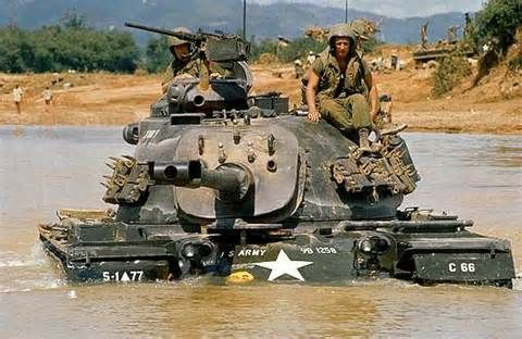 M48 Patton fording a river in Vietnam.