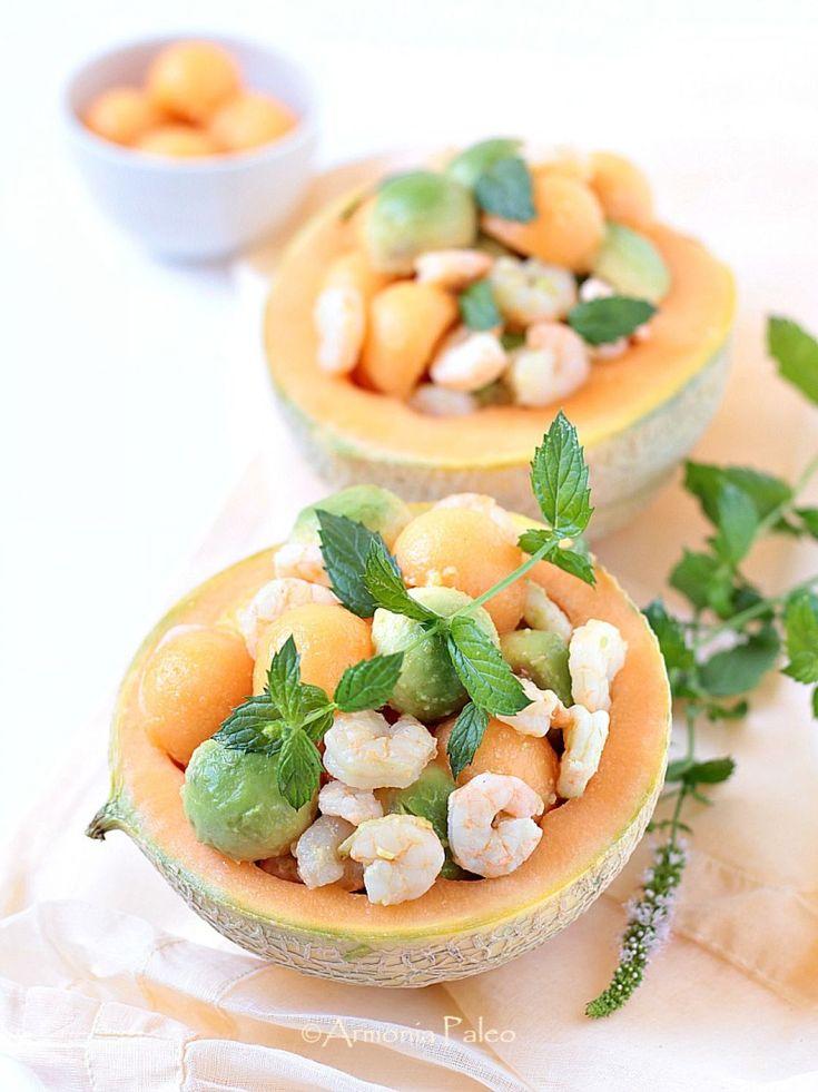 Cestini di Melone con Gamberi e Avocado