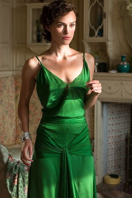 "Keira Knightly.  2007 Film: ""Atonement"" Author Ian McEwan spent several pages on Cecilia choosing her dress for the eventful dinner in the novel that the film is based on.  Designer Jacqueline Durran came up with a green silk gown, voted ""best film costume of all time"" in a poll by a fashion magazine."