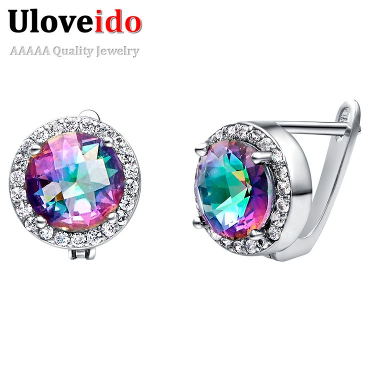 Find More Stud Earrings Information about Mystic Topaz Earrings Rainbow Pendientes Plata 925 Brincos de Prata Sterling Silver Jewelry Circle Earring Ulove R768,High Quality jewelry companies,China jewelry feather Suppliers, Cheap jewelry box with drawers from ULOVE Fashion Jewelry on Aliexpress.com