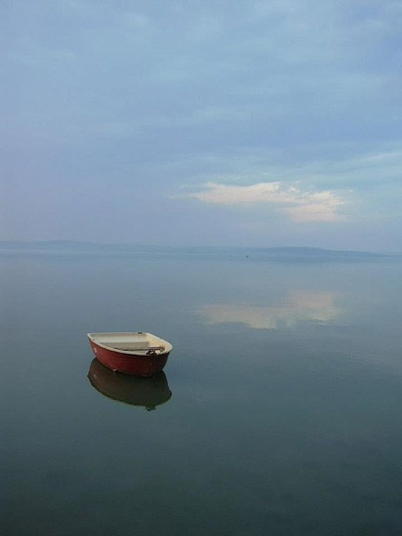 little boat on lake balaton, Hungary
