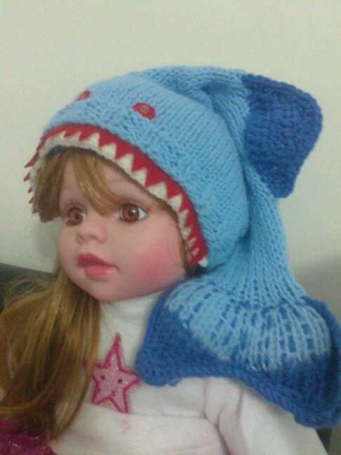 Mavi köpek balığı şapka 4-5 için