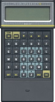 World's First Practical Pocket Computer  (4kB of ROM and 2kB of static RAM)  simple flat-file database, calculator and clock, and had no operating system..hmmmm... ?????  Psion Organizer.. not sure why use it but to write code?