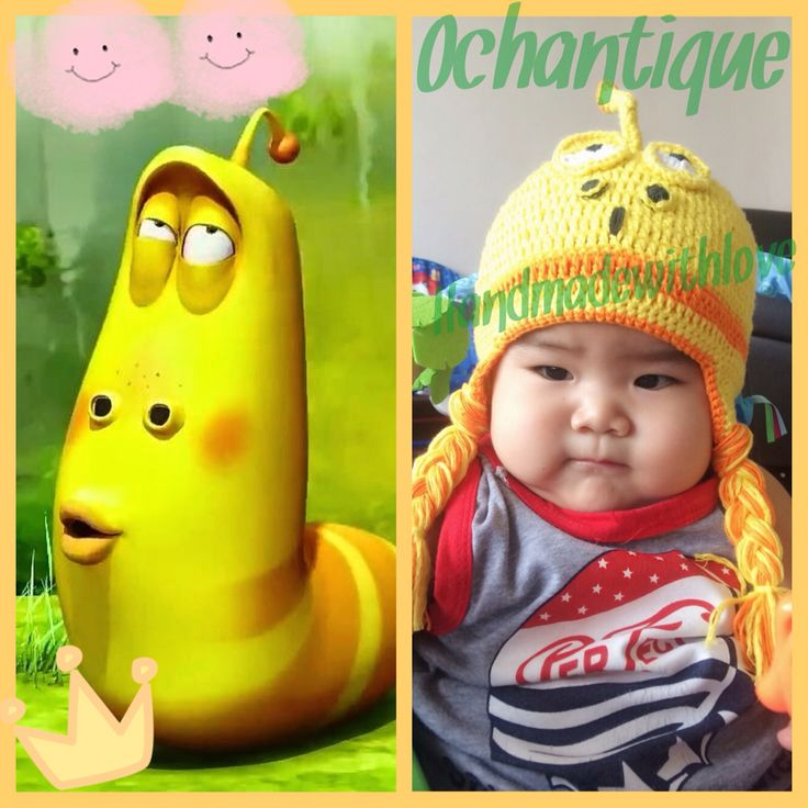 Project from cartoon character create to be a crochet hat...hahahaha i just imagine make this larva silly face.... ❤️