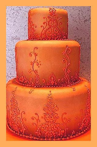Tangerine - Dark Orange 3 tier wedding cake
