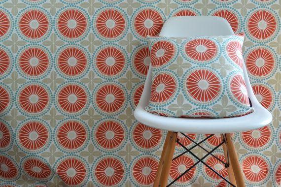 Swedish Scandinavian tile print contemporary fabric - Per metre - Spira Juline Coral