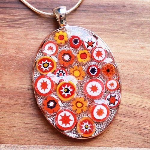 Millefiori Glass Oval Shaped Red, Orange & White Pendant