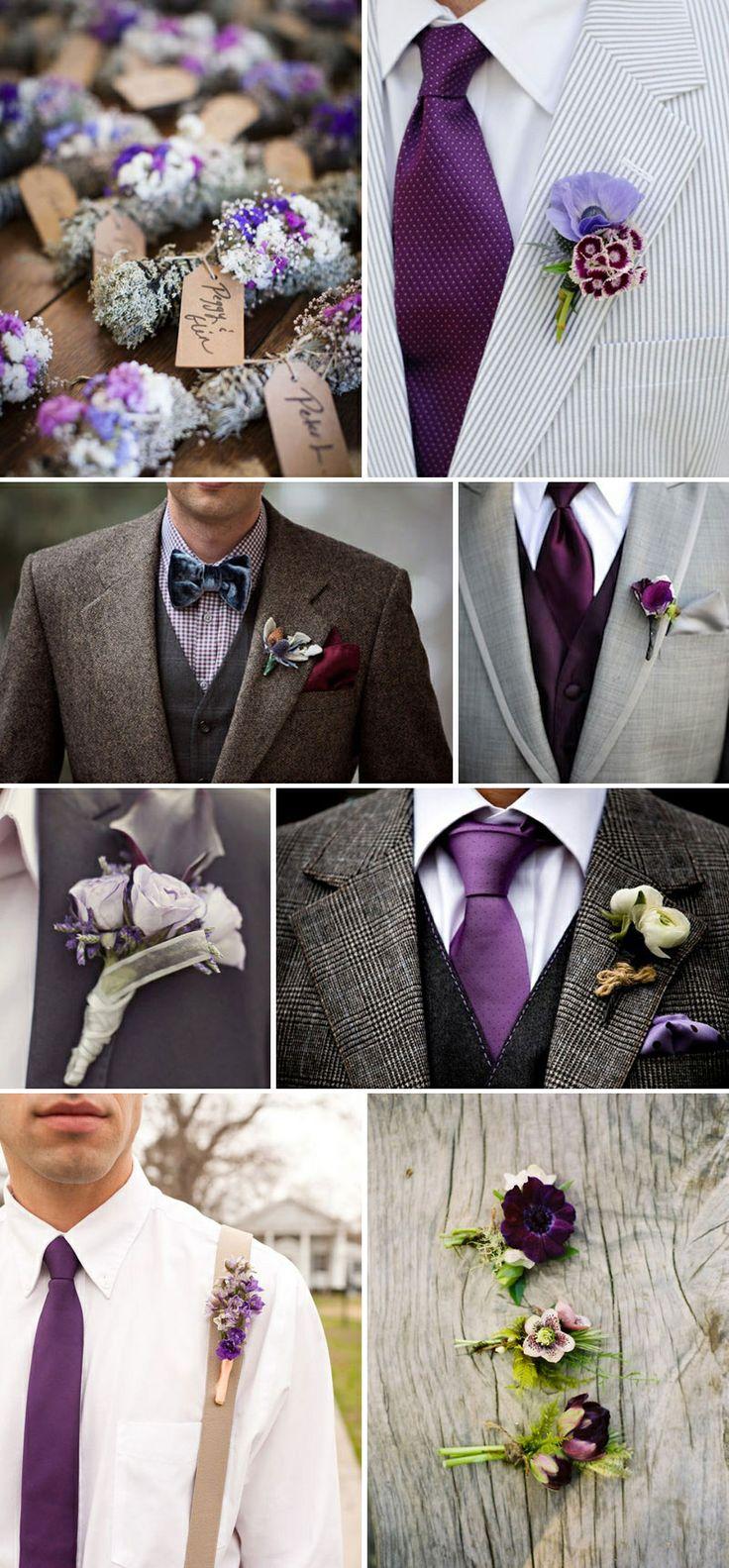 rustic and purple groom
