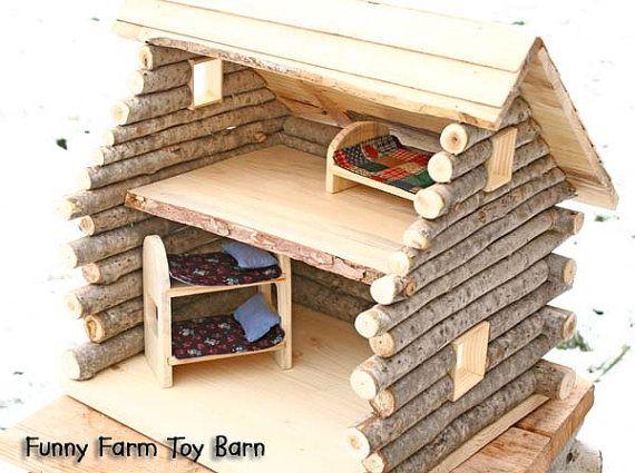 I think I could make one!    Log Cabin Dollhouse Natural Waldorf Custom by FunnyFarmToyBarn, $100.00