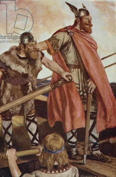 Erik the Red (950-1003/04) sets sail for Greenland, illustration from 'The Book of Discovery' by T.C. Bridges, published 1931 (colour litho)...